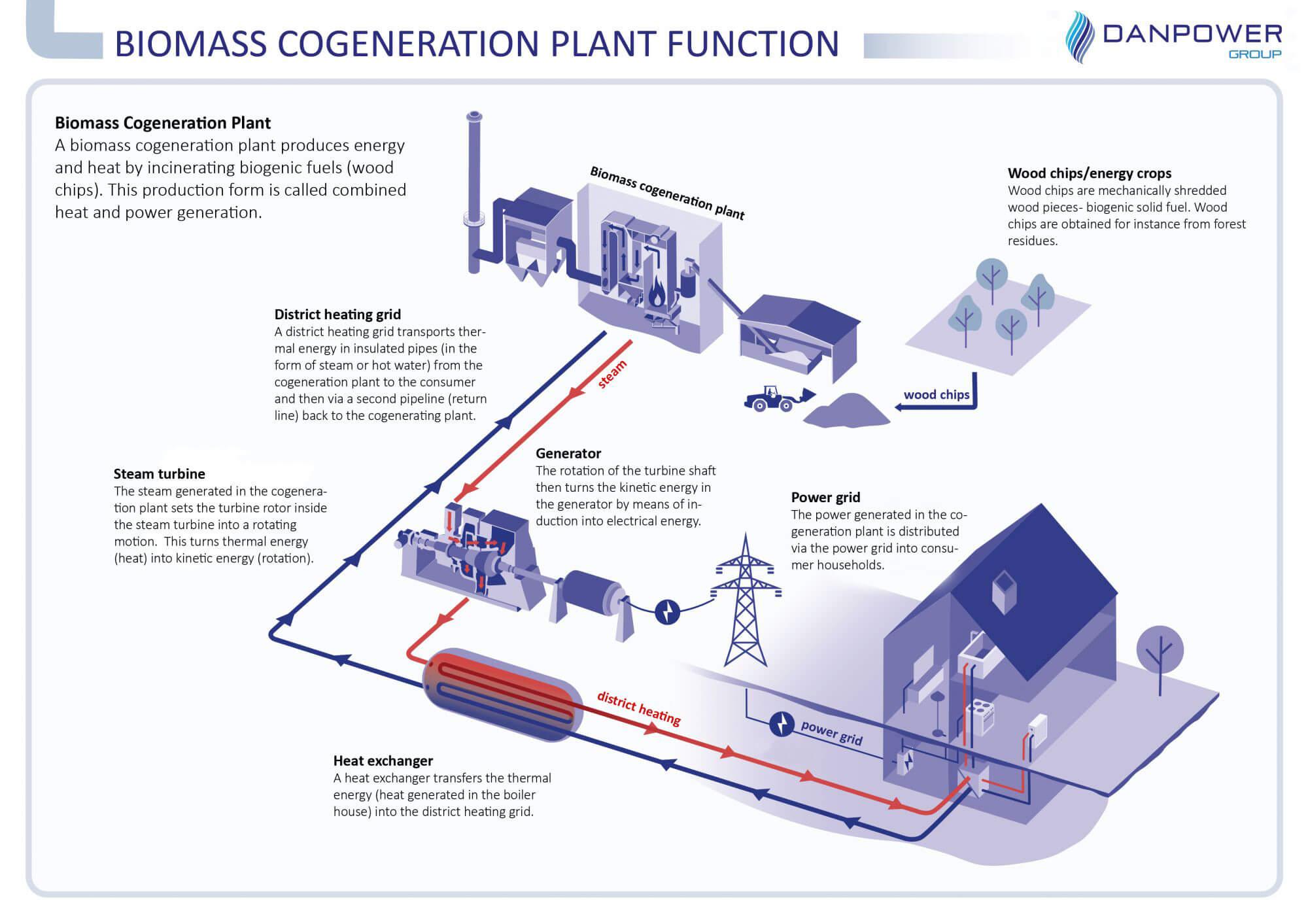 Funktion Biomasseheizkraftwerk